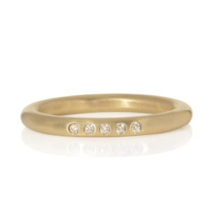 18ct gold and diamond classic plain band by Sarah Herriot Jewellery