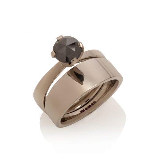tapered engagement ring - 18ct white gold, black diamond