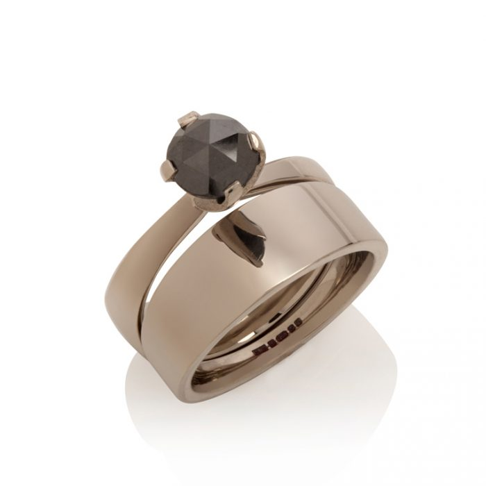 tapered engagement ring - 18ct white gold, black diamond