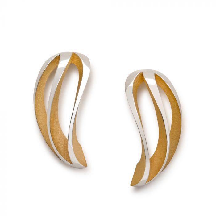 3-way twist earrings - gold plate interior