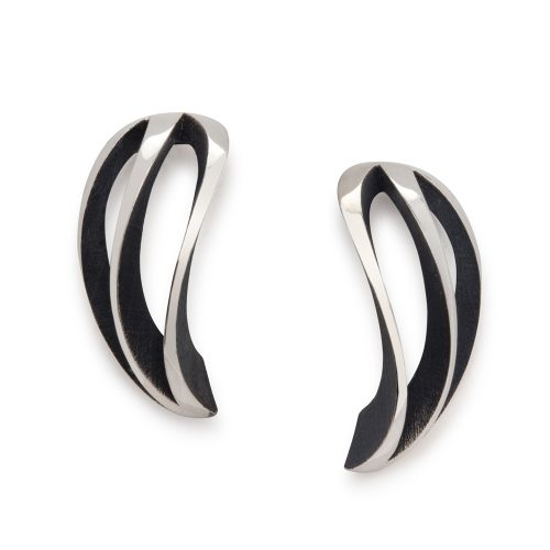 3-way twist earrings - oxidised
