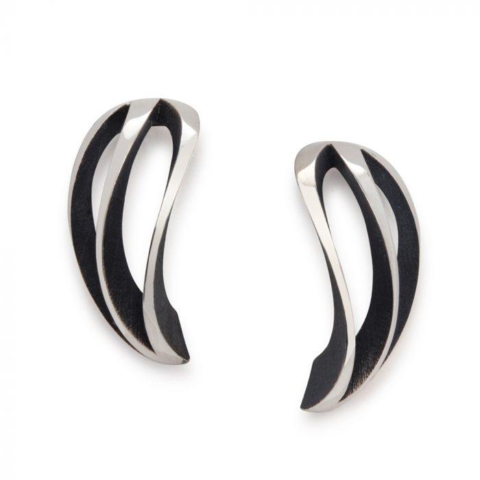 3-way twist earrings - oxidised