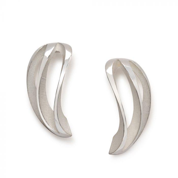 3-way twist earrings - white