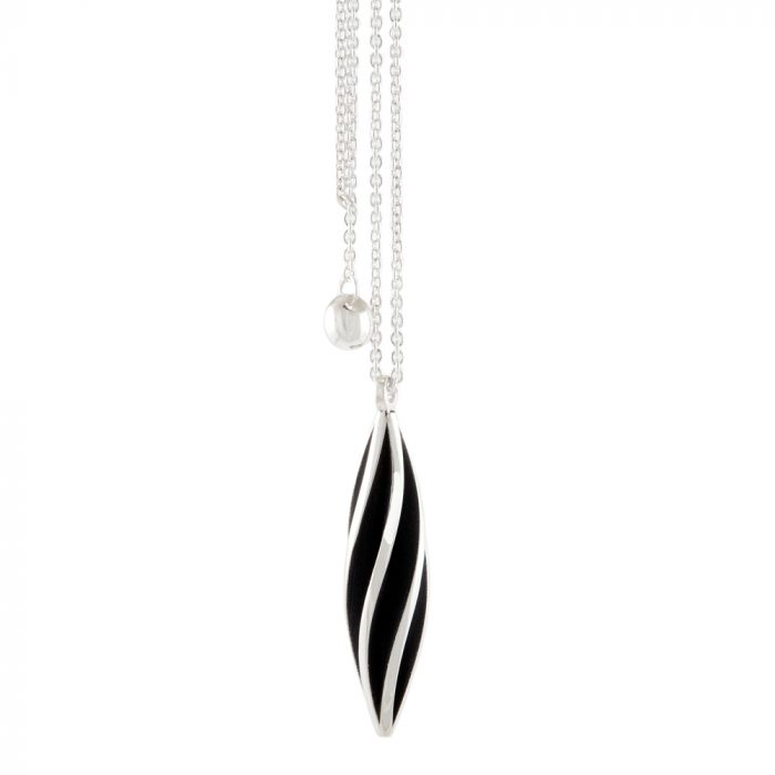 Beat twist pendant - oxidised