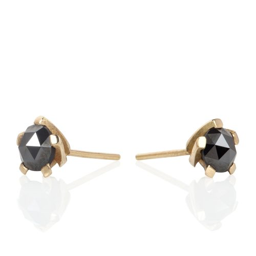 5 twist black diamond studs