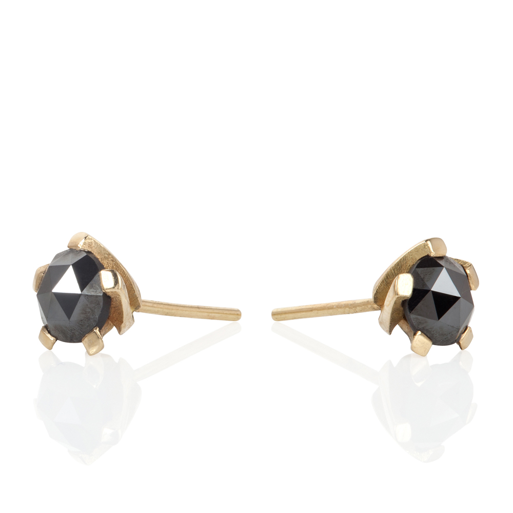 5 twist black diamond studs