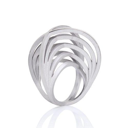 silver crane ring - rhodium plate