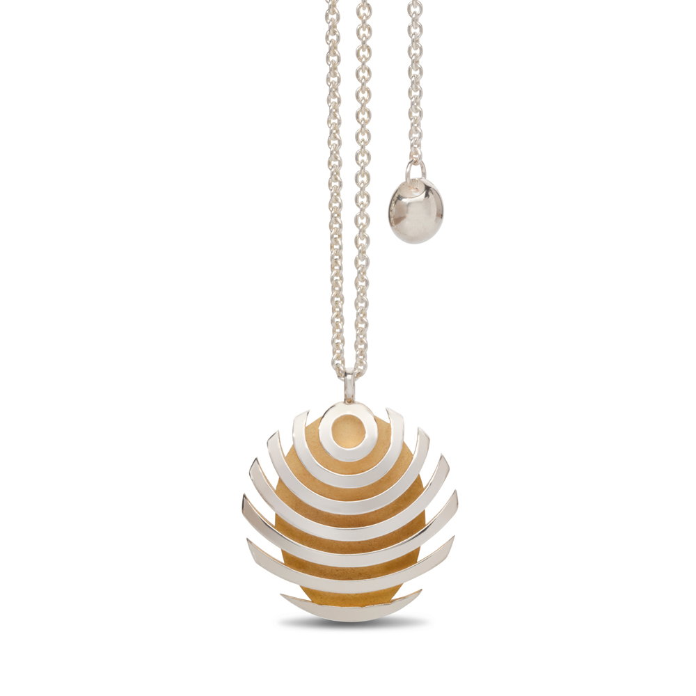 fish button pendant - gold plate interior