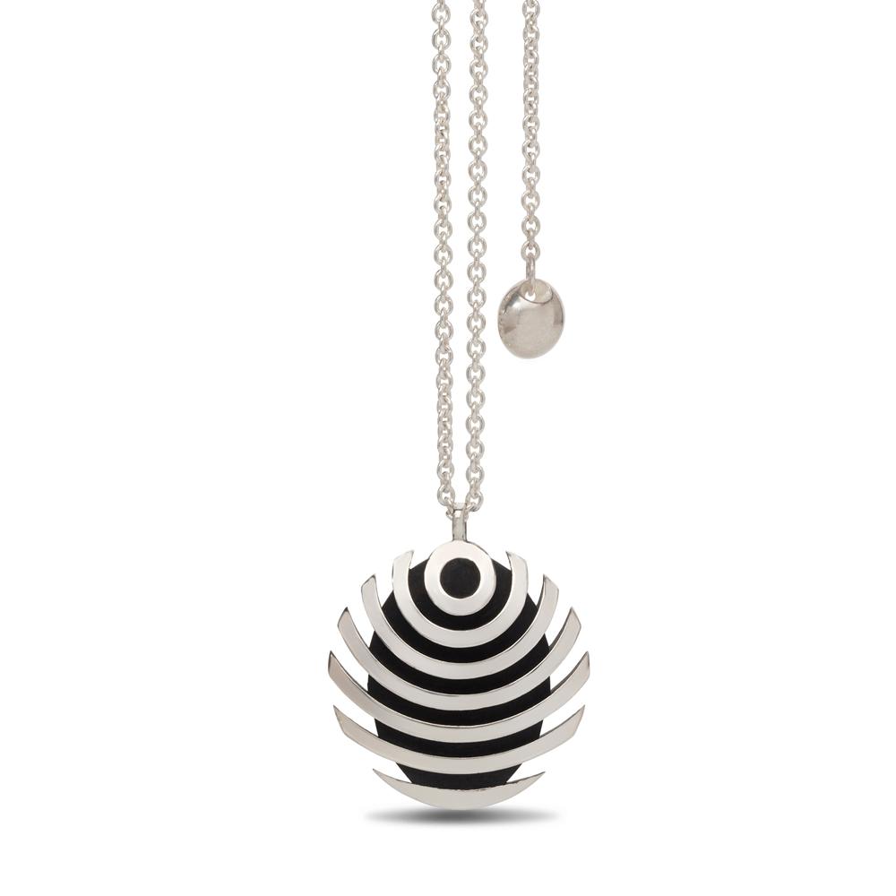 fish button pendant - oxidised