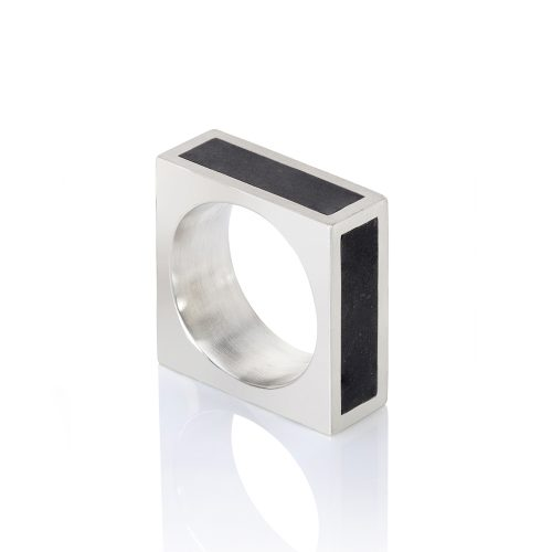 cube ring - jade insets