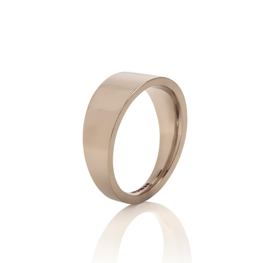 tapered wedding band - 18ct white gold