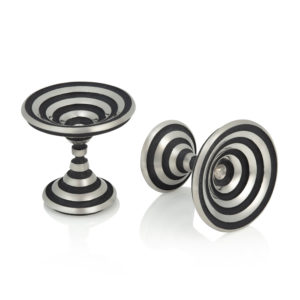 Op Art cufllinks in silver with black circular lines in one soild piece