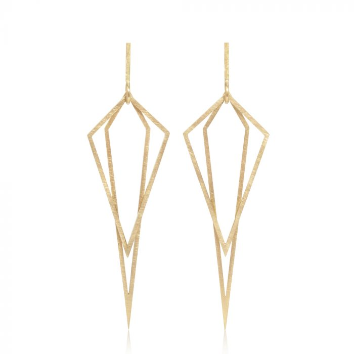 double diamond earrings - 18ct gold