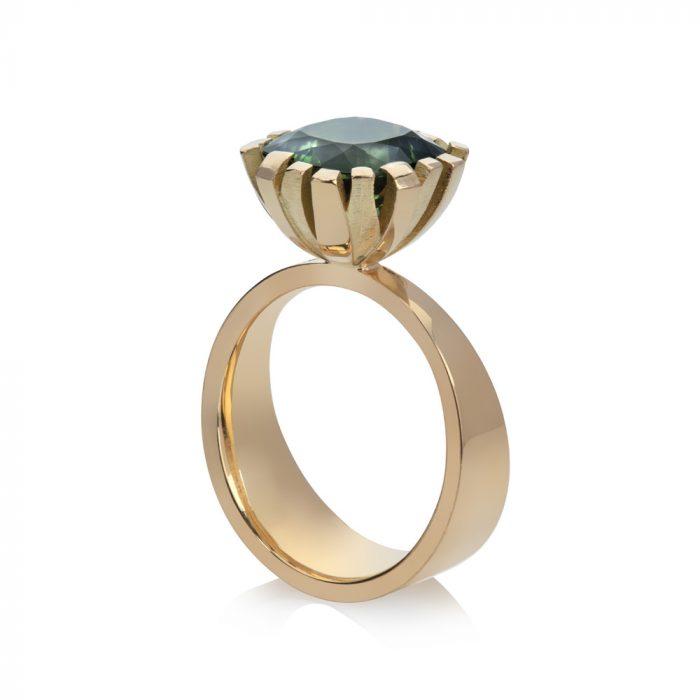 flax ring, Cushion cut green tourmaline 4.45ct