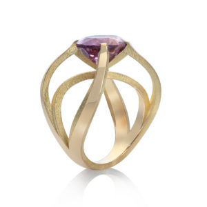 Statement sculptural ring in 18ct gold with oval purple tourmaline
