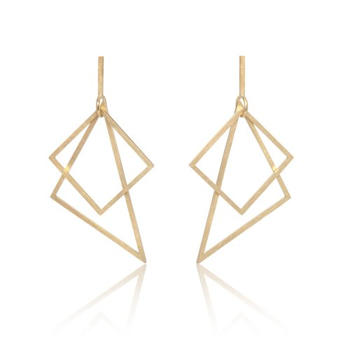 triangle square earrings - 18ct gold