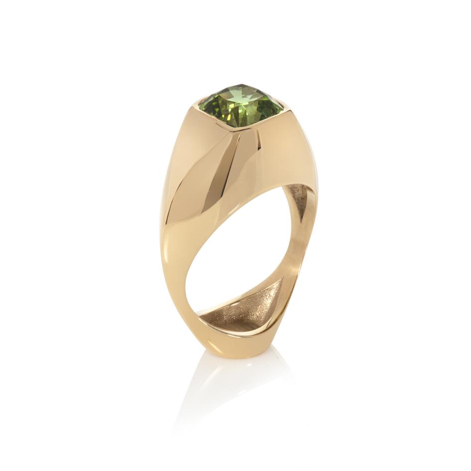 vessel ring - green tourmaline