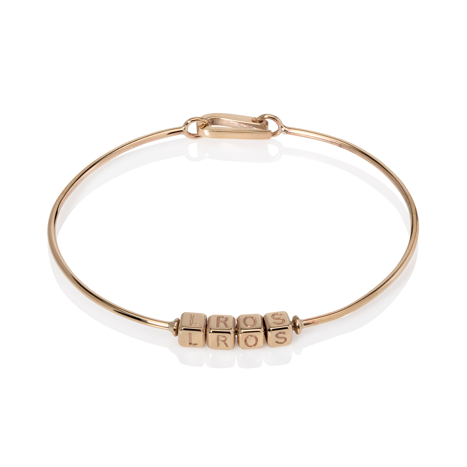 Personalised-Name-Bangle-Bracelet-9ct-Yellow-Gold-Recycled-Handmade-by Sarah-Herriot-1