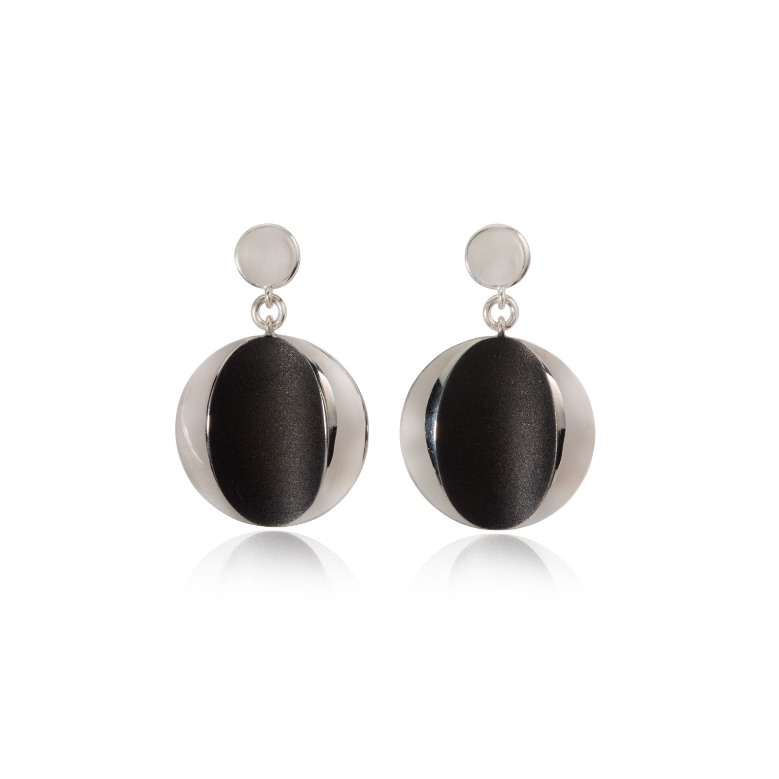 cats eye earrings silver and black