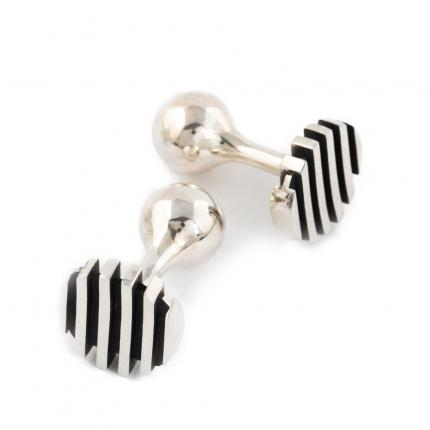 escalator-cufflinks-silver-oxidised-Sarah-Herriot-Jewellery-London