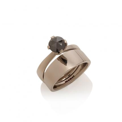 engagement-ring-wedding-band-18ct-white-gold-black-diamond=Sarah-Herriot-Jewellery-London
