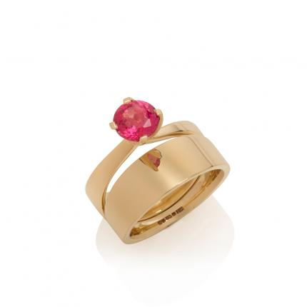 engagement-ring-wedding-band-18ct-gold-pink-spinel-Sarah-Herriot-Jewellery-London
