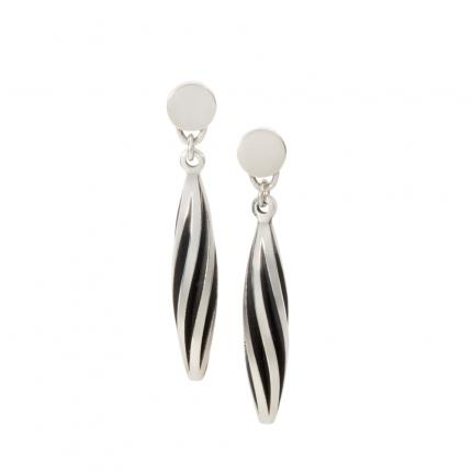 beat-twist-earrings-silver-oxidised-studs-Sarah-Herriot-Jewellery-London