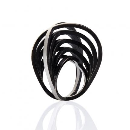 double-crane-ring-silver-black-plate-Sarah-Herriot-Jewellery-London